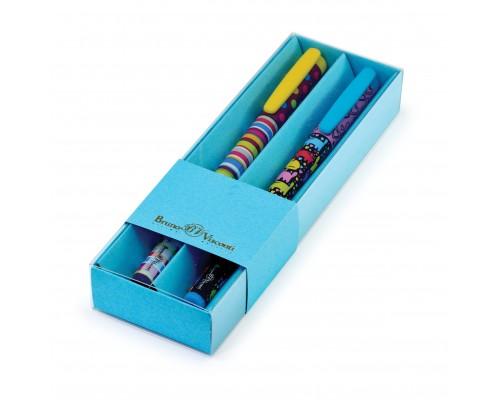 Ручка подарочная FunWrite Полоски/Котята 0.5мм СИНЯЯ (голубой футляр) набор 2шт.