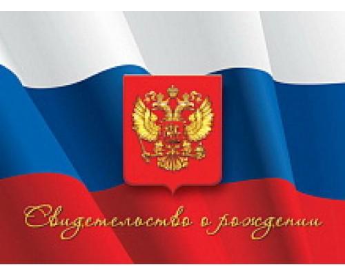 Обложка-папка Свидетельство о рождении А4 НОВОГО ОБРАЗЦА Флаг