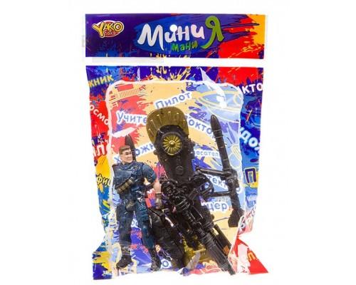 Набор игровой военный с полицейским, собакой и оружием ,серия МиниМаниЯ, РАС 15х23 см,M7595-1.