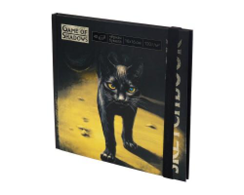 Скетчбук 160х160 Black cat 7БЦ, мат лам+выб лак, 40л, 120г, черная бумага С40-