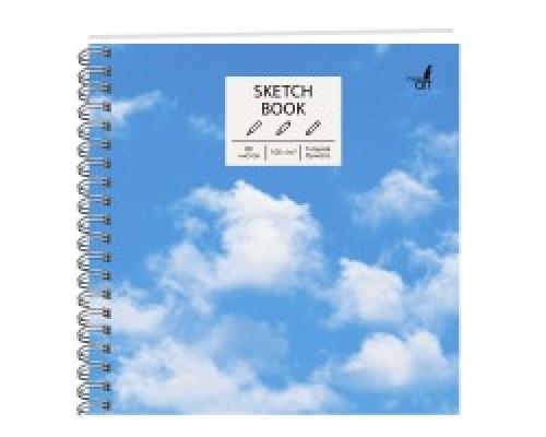 Скетчбук 195х195мм 80 листов на спирали В облаках