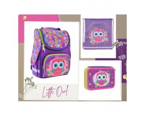 """Рюкзак """"Smart №1"""" Little Owl 3в1 в комплекте мешок для обуви, пенал д/девочки нач.шк"""