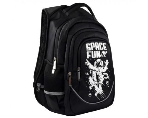 Рюкзак 53770 ЧЁРНЫЙ КОСМОС 27.5х43х13 см для мальчика старшая школа