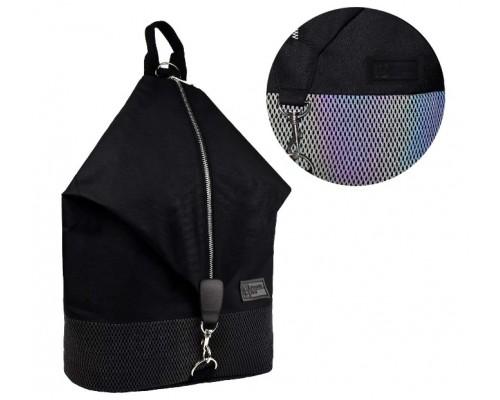 Рюкзак 53699 ЧЕРНЫЙ 27.5x40x14.5 см, светоотражающая сетка для девочки старшая школа